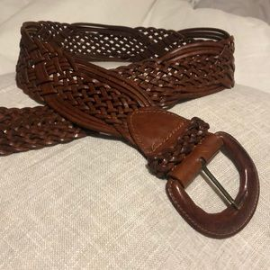 EXPRESS Genuine braided brown leather women's belt